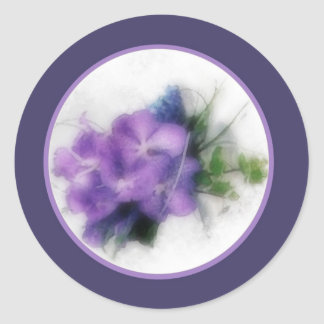 Purple orchids 1b envelope seal classic round sticker