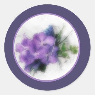 Purple orchids 1b envelope seal round sticker