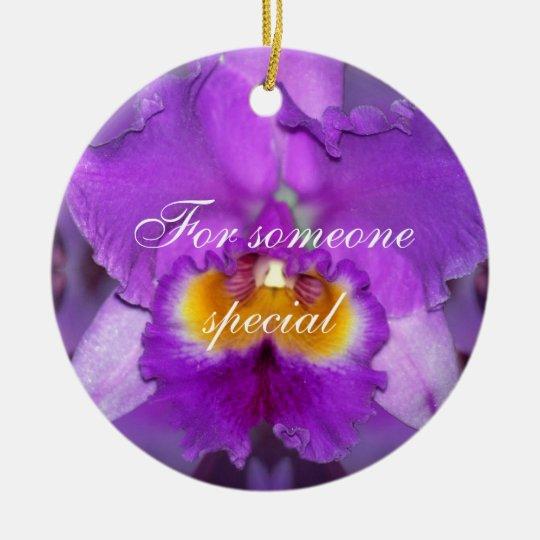 Purple Orchids Ceramic Ornament