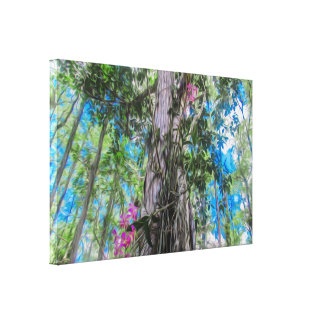 Purple Orchids in a Tree with a Bright Blue Sky Canvas Print