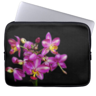 Purple orchids on Black background Laptop Sleeves