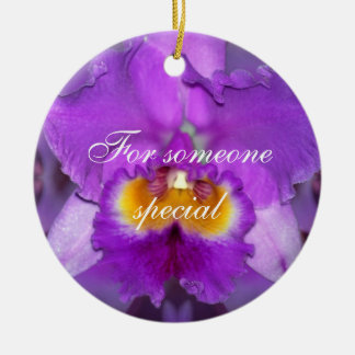 Purple Orchids Double-Sided Ceramic Round Christmas Ornament