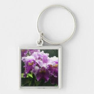Purple Orchids Silver-Colored Square Keychain