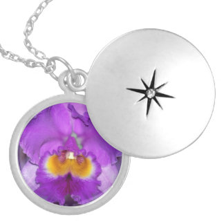 Purple Orchids Silver Plated Necklace