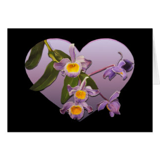 Purple Orchids Valentine's Day Card