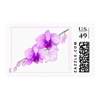Purple Orchids wedding postage