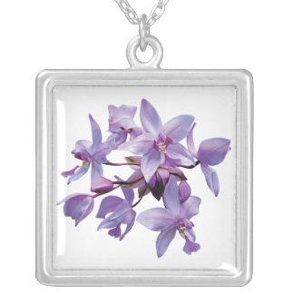 Purple Orchids with Dew Square Pendant Necklace