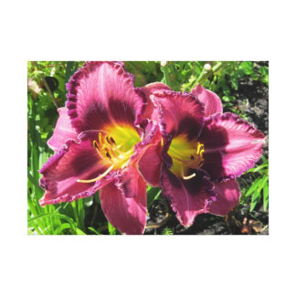 Purple Oriental Day Lilies Canvas Print
