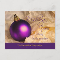 Purple Ornament Christmas Holiday Postcard