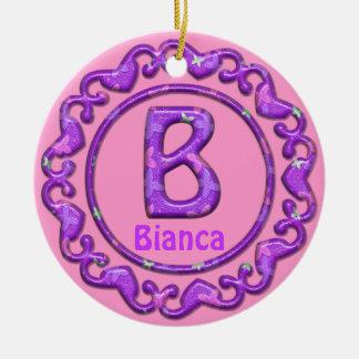 Purple Ornament~Heart Border~Letter B~Custom Name Ceramic Ornament