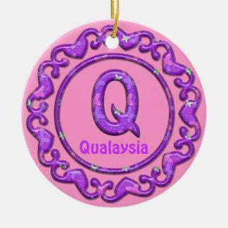 Purple Ornament~Heart Border~Letter Q ~Custom Name Ceramic Ornament