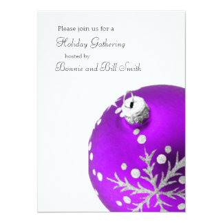 Purple Ornament Holiday Gathering Card