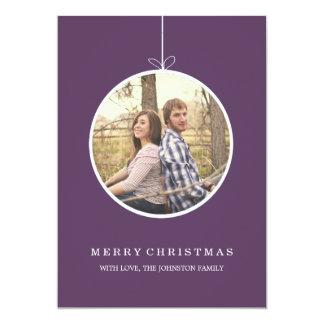 Purple Ornament Merry Christmas Photo Flat Cards