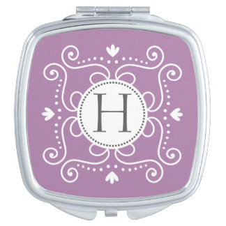 Purple ornament personalized monogram initial vanity mirror