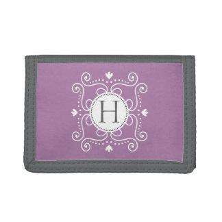 Purple ornament personalized monogram initial wallets