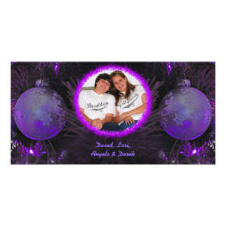 Purple Ornaments Christmas Photo Card