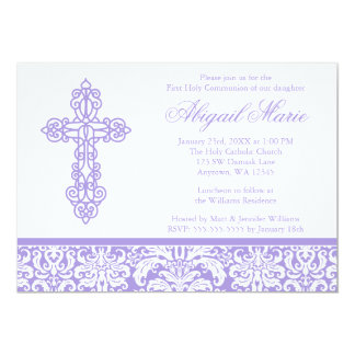 Purple Ornate Cross Damask Girl First Communion Card