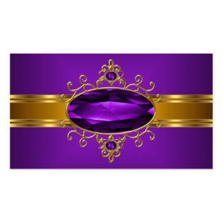 Purple Ornate Jewel Royal Yellow Gold Rich 2 Double-Sided Standard Business Cards (Pack Of 100)