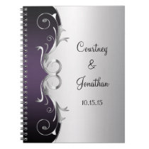Purple Ornate Silver Swirls Wedding Guest Book