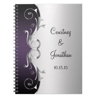 Purple Ornate Silver Swirls Wedding Guest Book Spiral Notebooks