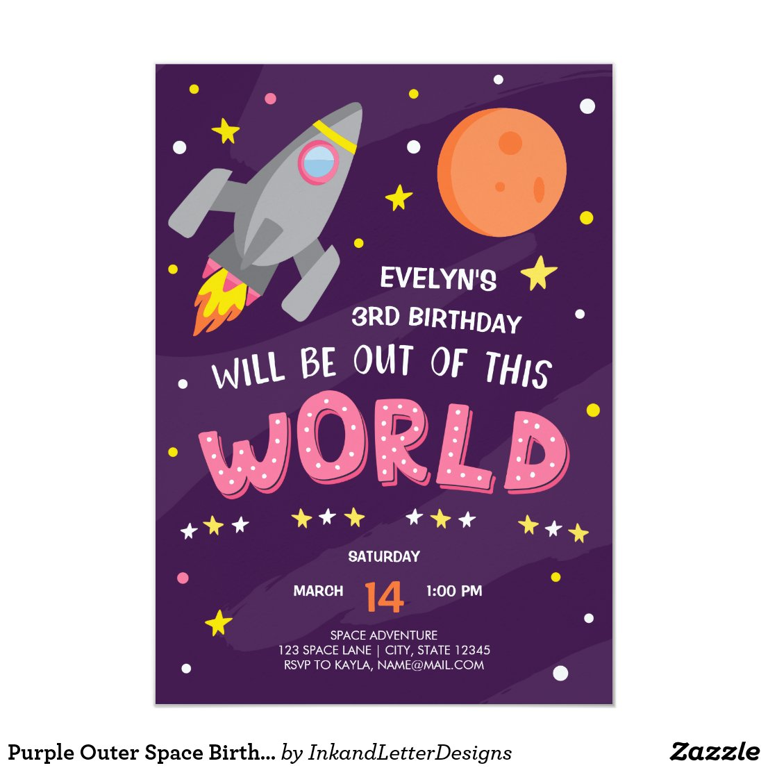 Purple Outer Space Birthday Invitation with Photo