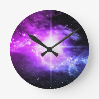 Purple Outer Space Round Clock