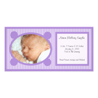 Purple Oval Striped New Baby Photo Card