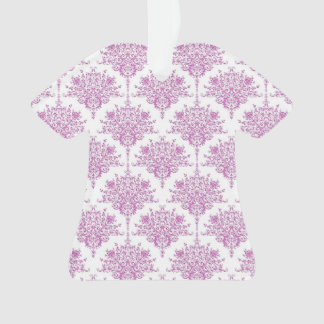 Purple over White Floral Damask Pattern Ornament
