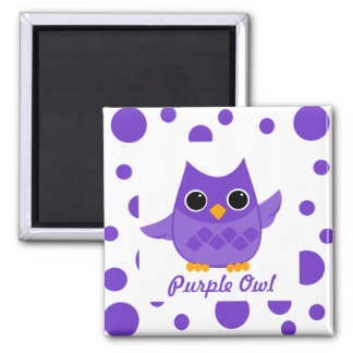 Purple Owl 2 Inch Square Magnet