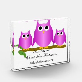 Purple Owl Acrylic Award