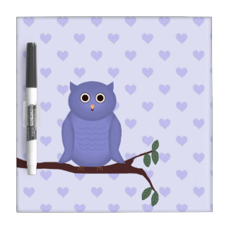Purple Owl and Hearts Dry Erase Board