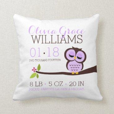 heartlocked Purple Owl Baby Birth Announcement Throw Pillow