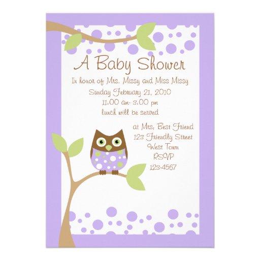 purple owl baby shower invitation 5 x 7 invitation card zazzle