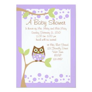 Purple Owl Baby Shower Invitation