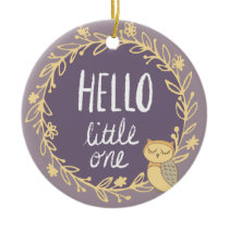 Purple Owl Baby's First Christmas Photo Ceramic Ornament