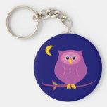 Purple Owl Basic Round Button Keychain