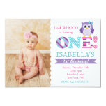 Purple Owl Birthday Party Invitations for Girl