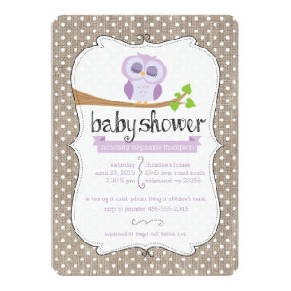 Purple Owl Burlap Dots Baby Shower Invitation