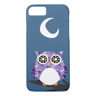 Purple Owl Chilling at Night on A Tree Branch iPhone 8/7 Case