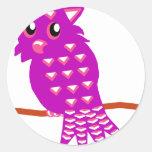 Purple Owl Classic Round Sticker