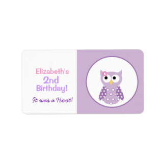Purple Owl Custom Baking Labels or Stickers Labels