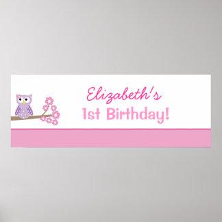 Purple Owl Custom Birthday Banner Poster Print
