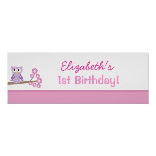 Purple Owl Custom Birthday Banner Poster Print