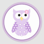 Purple Owl Envelope Seals / Toppers 20 Round Stickers