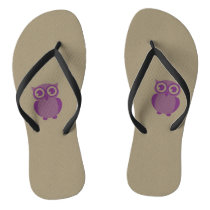Purple Owl Flip Flops