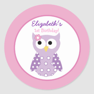 Purple Owl Girl Round Custom Favor Sticker Sticker