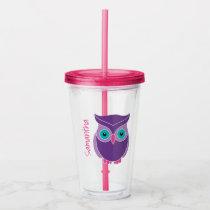 Purple Owl Girls Personalized Animal Kids Acrylic Tumbler