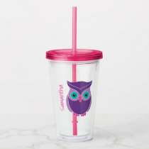 Purple Owl Girls Personalized Animal Kids Acrylic Tumbler