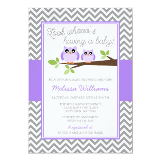 Purple Owl Gray Chevron Girl Baby Shower Card