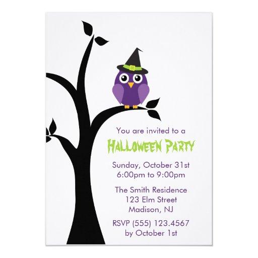 Purple Owl Halloween Party Invitations